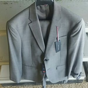 Tommy Hilfiger Two Button Slim Fit Windowpane Suit